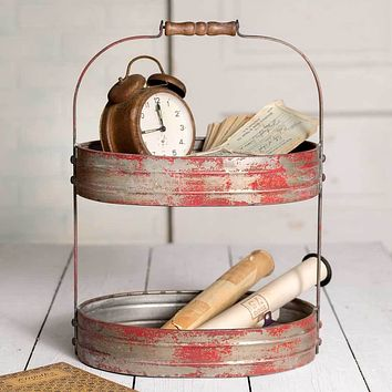 2 Two Tier Red Painted Metal Serving Caddy Stand w/ Wooden Handle Distressed