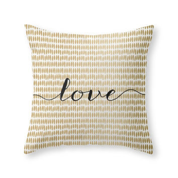 Society6 Love Gold Throw Pillow