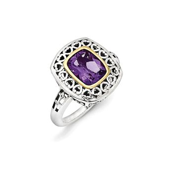 Sterling Silver Two Tone Silver And Gold Plated Sterling Silver w/Antiqued Amethyst Ring
