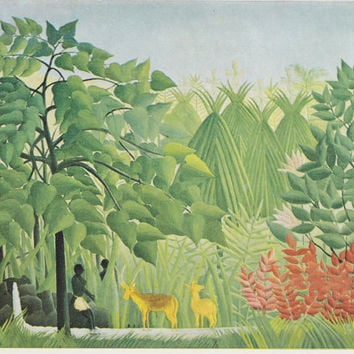 "Vintage English Postcard -- Henri Rousseau ""The Water Fall"" -- 1970?"