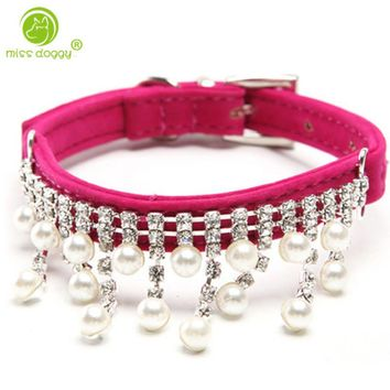 Hot Sale Personalized Rhinestone Dog Collar,crystal Pearl Necklace For Cats Female Pet Handmade Jeweled Bling Collars For Small