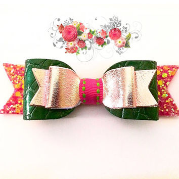 Girls pink and green bow / Bubblegum pink  and green leather glitter Hair Clip, Girls Sparkling Hair Clip / Baby Easter headband