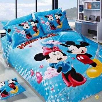 Mickey Minnie Mouse Bedding Set Queen King Size Flat Sheet 100% Cotton Printing 1 Pcs Bedsheet 1 Pcs Duvet Cover 2 Pcs Pillowcase