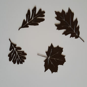 Leaf Accents Metal Wall Art Home Decor Set of 4