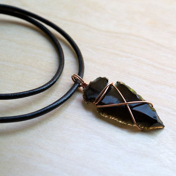 Black Obsidian Arrowhead Pendant in Black Leather Cord, Obsidian Pendant, Black Pendant, Leather Necklace, Mens Necklace, Natural Copper