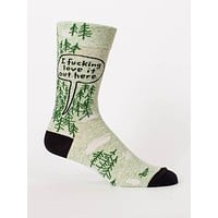 I Fucking Love It Out Here Men's Crew Socks in Greenery