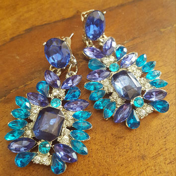 Statement earrings Rhinestones Turquoise blue and clear stud earrings trendy style