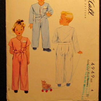 Sale 1940's Simplicity Sewing Pattern, 4949! Size 4 Toddler/Boys/Girls/Kids/Child One Piece Pajamas/Onsie/Chubbie Sizes included/Sleepwear