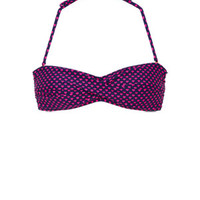 Delia's Tropical Heart Dot Twist Bandeau Bikini Top