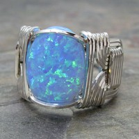 Light Blue Fire Man-Made Opal Sterling Silver Wire Wrapped Ring ANY size