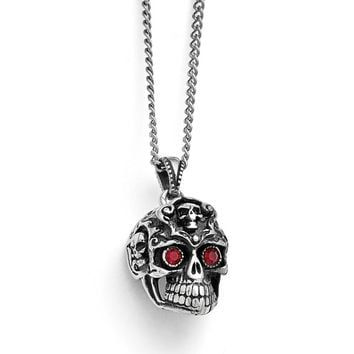 Stainless Steel Polished and Antiqued Red Crystal Skull Necklace