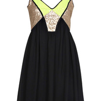 Leigh V Front Neon Sequin Panel Strappy Swing Dress