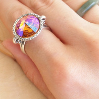 Gypsy Jewelry - Crystal Ring - Mystical Jewelry - Crystal Jewelry - Jewel Gypsy Ring - Scroll Ring - Rivoli