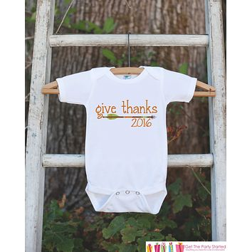Kids Give Thanks Outfit - 2016 Thanksgiving Shirt - Kids Thanksgiving Tshirt or Onepiece - Boy or Girl Orange Arrow Thanksgiving Outfit