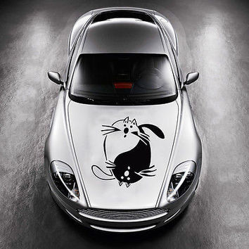 Taoism Two Cats Sign Yin and Yang HOOD CAR VINYL STICKER DECALS GRAPHICS SV3665