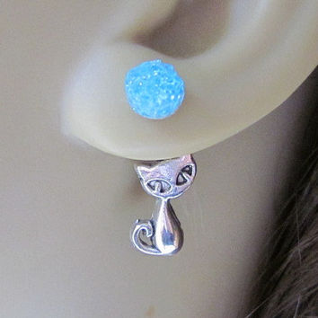 Cat Earrings Kitty Earrings Back Front Earrings Reverse Earrings Stained Glass Jewelry Silver Cat Charm Stud Earrings Faux Druzy Studs