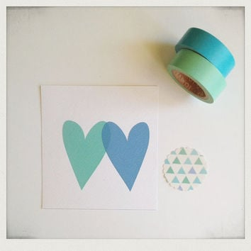 Love card two hearts Valentine with handmade envelope and sticker, green and blue, minimalist