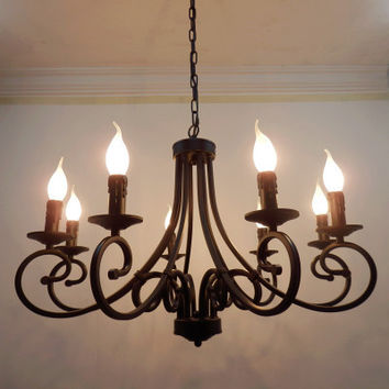 Wrought Iron Chandelier Candles Classical 8 Pieces E14 Bulb Chandeliers Light Fixture America Country Brief Style