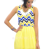 Madeira Beach Sun Dress Yellow & Royal Chevron
