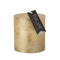 Chunky Pillar Candle In Metallic Gold - 35 Hours Burning Time - Height 75 mm