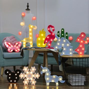 Flamingo Unicorn LED Light Baby Shower Wedding Party Home Kids DIY Decoration Star Heart Pineapple Christmas Tree 3D Desk Lamp,8