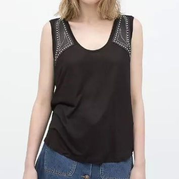 Black PU Leather Sleeveless Shirt
