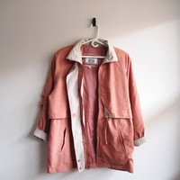 Peach Salmon Raincoat with Tightening Pull | Clothing | Vintage Loser