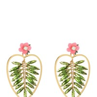 Gold Rhinestone Palm Leaf Earring by Juicy Couture, O/S