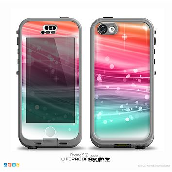 The Vibrant Multicolored Abstract Swirls Skin for the iPhone 5c nüüd LifeProof Case