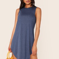 Curved Dip Hem Tee Dress