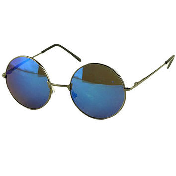 Blue Mirror Metal Round Frame Sunglasses