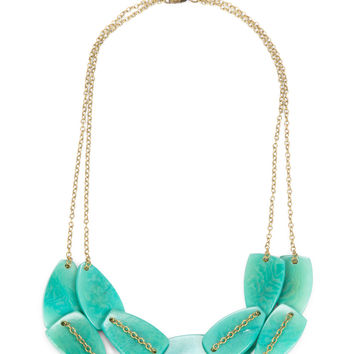 Scattered Pebble Collar Necklace - Turquoise