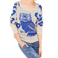 Women's Owl Pattern Print Loose Batwing Knitted Pullover Sweater Jumper