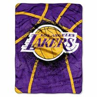 Los Angeles Lakers NBA Royal Plush Raschel Blanket (Shadow Series) (60x80)