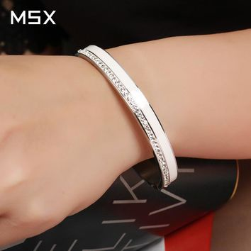 Beauty Stainless Steel Ceramic Resin Women Bracelet Bangle Men RoseGold Plated Cuff Lady Crystal Bracelet Jewelry Gift