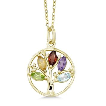 2.19 Cttw Gold Plated Sterling Silver Multicolor Gemstone Tree Of Life Pendant