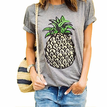 2016 Summer Women T Shirt Novelty Brief Pineapple Pattern Print Loose T-Shirts O-neck Fashion Wild Top Tees