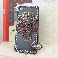 Punk Skull iPhone Case Skull iphone 5 case Steampunk Chameleon Gold / Purple Studded iPhone Case Studded iPhone 5 Case Bling Phone Case
