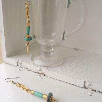 Spike Earrings, Turquoise with Gold,  Long Chain Earrings, Gold Spikes, Dangle