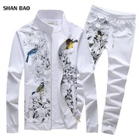 2017 New Fashion Spring Mens Sportswear Stand Collar Print Men Tracksuit Set High Quality Mens Clothing Sets Mens Sets Plus 5XL