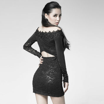 NEW Punk Rave Rock Gothic Black Sexy Lace Mini Dress PQ-027 XS- XXXL Fashion