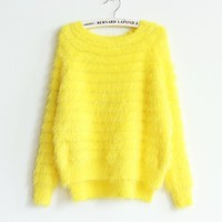Long Sleeves Pure Color Irregular Scoop Mohair Sweater