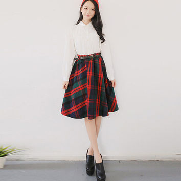 Women Basic Plaid Print Knee-Length Midi Thick Skirt for Fall