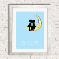 Give Me A Kiss To Build A Dream On - Love - Art Print - Valentine - Louie Armstrong -  New Couple