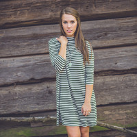 Striped Mock Neck Dress in Olive