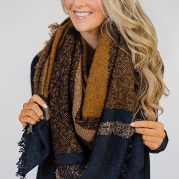 Must Have Blanket Scarf- Navy & Tan