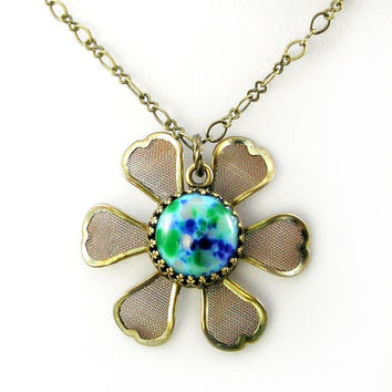 Brass Flower Necklace, Speckled Blue, Vintage Glass, Spring Jewelry, Blooming, Daisy, Antiqued Brass, Robin's Egg, Garden