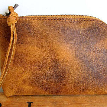 Distressed light brown leather wallet , Iphone wallet , brown leather zipper wallet