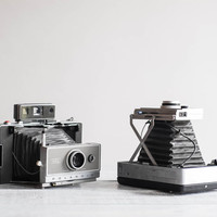 Pair of 1960s Polaroid Land Cameras / Vintage Polaroid 100 and 240 Instant Film Cameras / Display or Prop