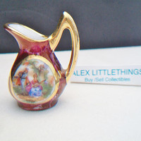 Miniature Limoges Courting Couple Pitcher Ewer France Victorian Scene Collectible